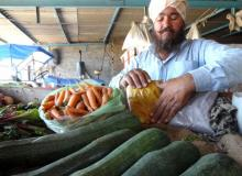 Sher Singh with his organic produce.