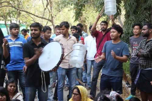 Students protesting at TISS, Hyderabad campus.