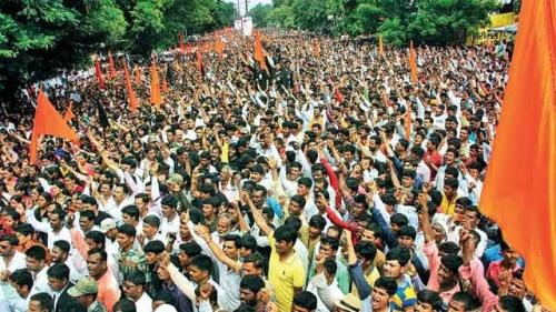 Protest by Maratha Kranti Morcha for reservation in 2016. Source: Midhanesh/Wikimedia Commons