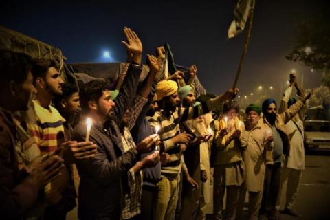 Farmers during protest prayer at Singhu border. Image: Randeep Maddoke