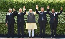 The heads of BRICS nations at Goa Summit. Source: PIB, India